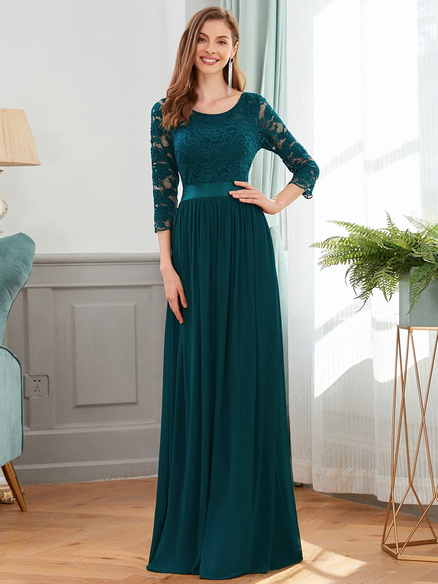 COLOR=Teal | See-Through Floor Length Lace Evening Dress With Half Sleeve-Teal 1