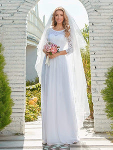 Color=White | Simple Casual Lace & Chiffon Wedding Dress For Bridal-White 1
