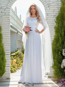 Color=White | Simple Casual Lace & Chiffon Wedding Dress For Bridal-White 2