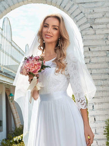Color=White | Simple Casual Lace & Chiffon Wedding Dress For Bridal-White 3