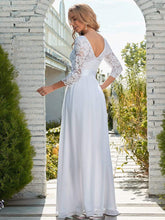 Load image into Gallery viewer, Color=White | Simple Casual Lace & Chiffon Wedding Dress For Bridal-White 9