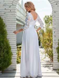 Color=White | Simple Casual Lace & Chiffon Wedding Dress For Bridal-White 9
