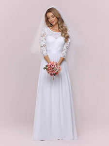 Color=White | Simple Casual Lace & Chiffon Wedding Dress For Bridal-White 4