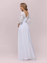 Load image into Gallery viewer, Color=White | Simple Casual Lace & Chiffon Wedding Dress For Bridal-White 5