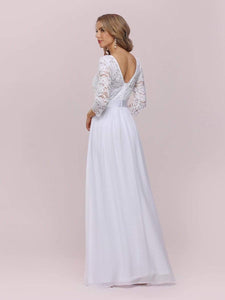 Color=White | Simple Casual Lace & Chiffon Wedding Dress For Bridal-White 5