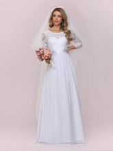 Load image into Gallery viewer, Color=White | Simple Casual Lace & Chiffon Wedding Dress For Bridal-White 6