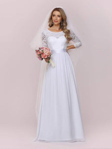 Color=White | Simple Casual Lace & Chiffon Wedding Dress For Bridal-White 6