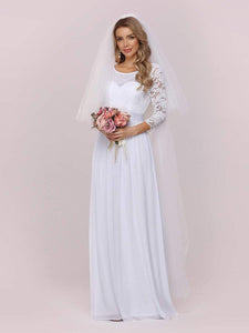 Color=White | Simple Casual Lace & Chiffon Wedding Dress For Bridal-White 7