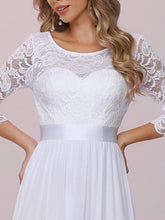 Load image into Gallery viewer, Color=White | Simple Casual Lace & Chiffon Wedding Dress For Bridal-White 8