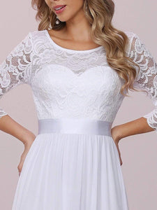 Color=White | Simple Casual Lace & Chiffon Wedding Dress For Bridal-White 8