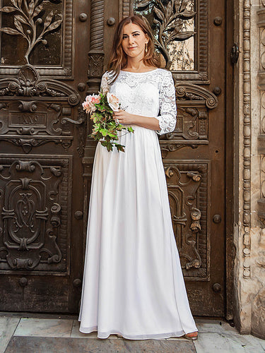 Color=White | Elegant Empire Waist Wholesale Bridesmaid Dresses With Long Lace Sleeve-White 12