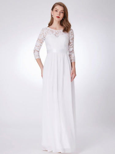 Color=White | Elegant Empire Waist Wholesale Bridesmaid Dresses With Long Lace Sleeve-White 1