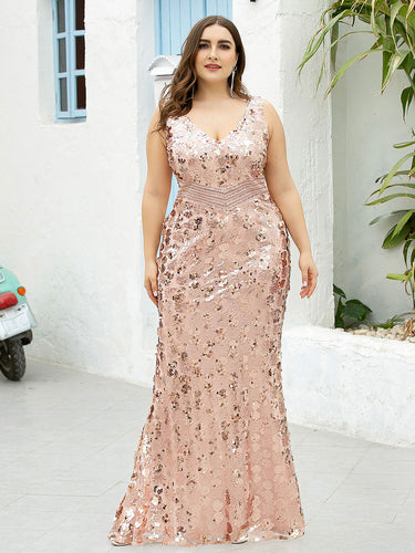 COLOR=Rose Gold | Plus Size Maxi Long V Neck Mermaid Sequin Prom Dresses for Women-Rose Gold 1