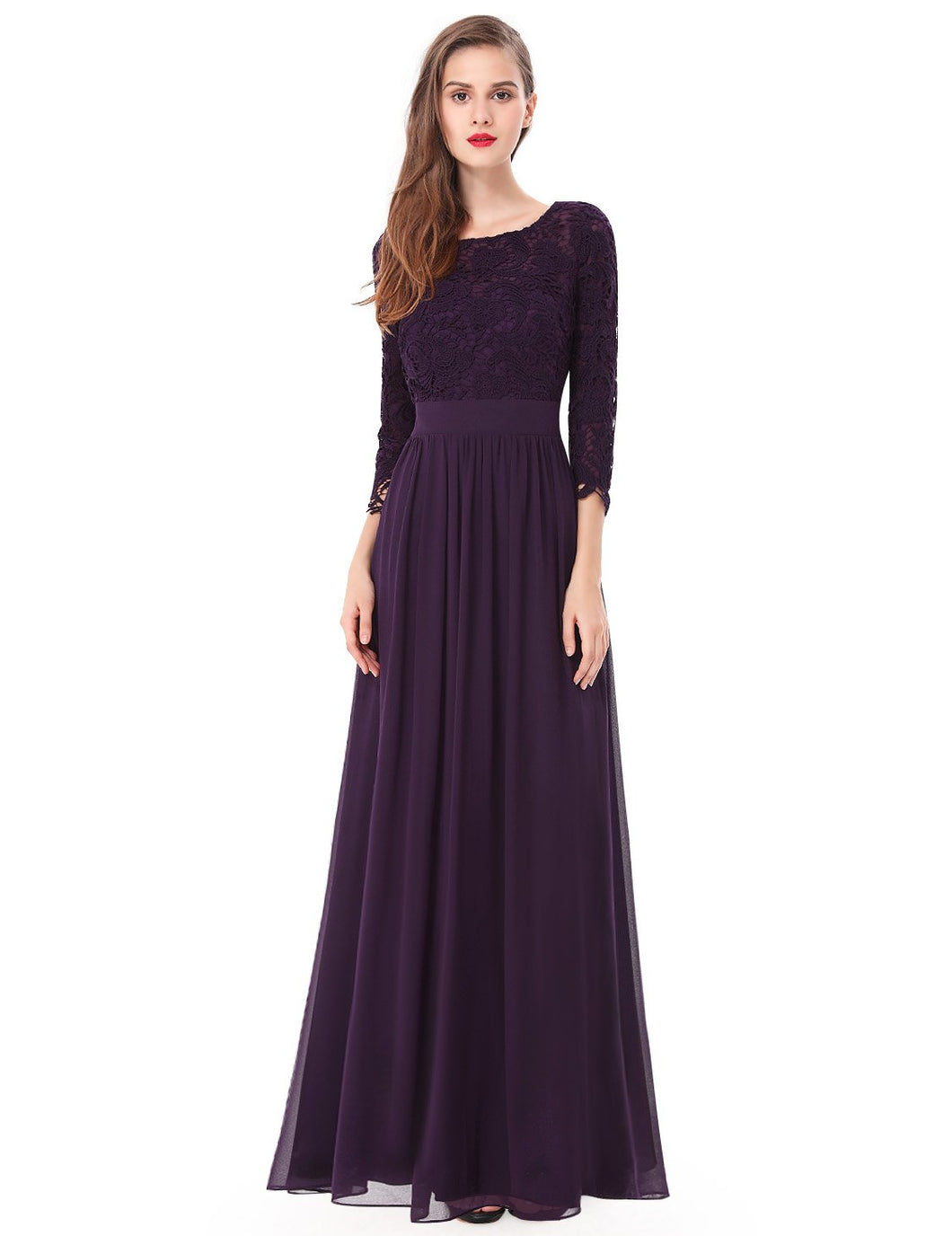 Ever-Pretty Sexy Women's Elegant 3/4 Sleeve V Back Lace Long Evening Dress EP08412