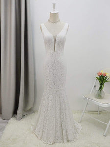Color=White | Dainty Deep V Neck Sleeveless Fishtail Lace Wedding Dress-White 9