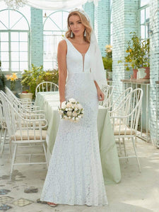 Color=White | Dainty Deep V Neck Sleeveless Fishtail Lace Wedding Dress-White 2