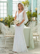 Load image into Gallery viewer, Color=White | Dainty Deep V Neck Sleeveless Fishtail Lace Wedding Dress-White 1
