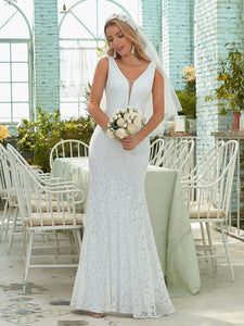 Color=White | Dainty Deep V Neck Sleeveless Fishtail Lace Wedding Dress-White 4