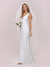 Load image into Gallery viewer, Color=White | Dainty Deep V Neck Sleeveless Fishtail Lace Wedding Dress-White 5