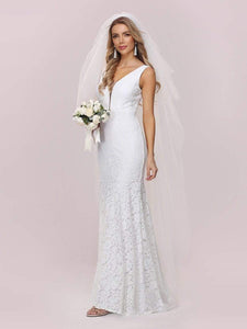 Color=White | Dainty Deep V Neck Sleeveless Fishtail Lace Wedding Dress-White 5