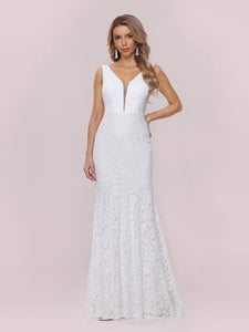 Color=White | Dainty Deep V Neck Sleeveless Fishtail Lace Wedding Dress-White 6