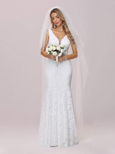 Load image into Gallery viewer, Color=White | Dainty Deep V Neck Sleeveless Fishtail Lace Wedding Dress-White 7