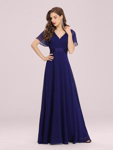 Color=Royal Blue | Long Empire Waist Evening Dress With Short Flutter Sleeves-Royal Blue 6