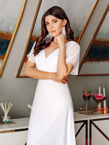COLOR=White | Long Empire Waist Evening Dress With Short Flutter Sleeves-White 9