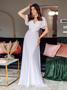 COLOR=White | Long Empire Waist Evening Dress With Short Flutter Sleeves-White 8