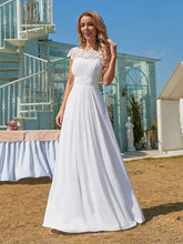Load image into Gallery viewer, Color=White | Plain Pleated Chiffon Wedding Dress With Lace Decorations-White 1