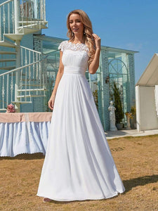 Color=White | Plain Pleated Chiffon Wedding Dress With Lace Decorations-White 1