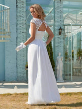 Load image into Gallery viewer, Color=White | Plain Pleated Chiffon Wedding Dress With Lace Decorations-White 2