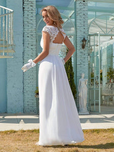 Color=White | Plain Pleated Chiffon Wedding Dress With Lace Decorations-White 2