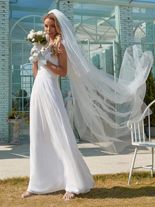 Color=White | Plain Pleated Chiffon Wedding Dress With Lace Decorations-White 3