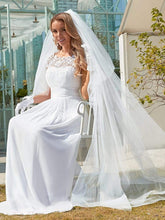 Load image into Gallery viewer, Color=White | Plain Pleated Chiffon Wedding Dress With Lace Decorations-White 5