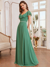 Load image into Gallery viewer, Color=Green Bean | Adorable Ruffled Shoulder High Waist Wholesale Bridesmaid Dress Es00123-Green Bean 7