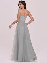 Load image into Gallery viewer, Color=Grey | Fashion V Neck Sleeveless Maxi Tulle Wholesale Bridesmaid Dress Es00299-Grey 2