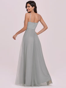 Color=Grey | Fashion V Neck Sleeveless Maxi Tulle Wholesale Bridesmaid Dress Es00299-Grey 2