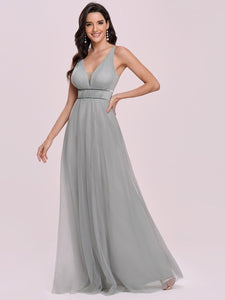 Color=Grey | Fashion V Neck Sleeveless Maxi Tulle Wholesale Bridesmaid Dress Es00299-Grey 3