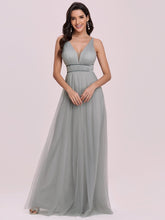 Load image into Gallery viewer, Color=Grey | Fashion V Neck Sleeveless Maxi Tulle Wholesale Bridesmaid Dress Es00299-Grey 4