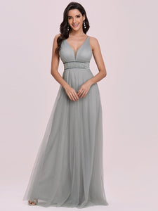 Color=Grey | Fashion V Neck Sleeveless Maxi Tulle Wholesale Bridesmaid Dress Es00299-Grey 4