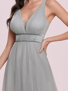 Color=Grey | Fashion V Neck Sleeveless Maxi Tulle Wholesale Bridesmaid Dress Es00299-Grey 5