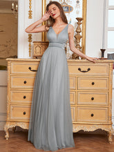 Load image into Gallery viewer, Color=Grey | Fashion V Neck Sleeveless Maxi Tulle Wholesale Bridesmaid Dress Es00299-Grey 6
