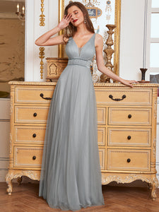 Color=Grey | Fashion V Neck Sleeveless Maxi Tulle Wholesale Bridesmaid Dress Es00299-Grey 6