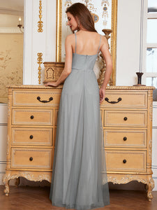 Color=Grey | Fashion V Neck Sleeveless Maxi Tulle Wholesale Bridesmaid Dress Es00299-Grey 7