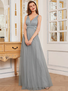 Color=Grey | Fashion V Neck Sleeveless Maxi Tulle Wholesale Bridesmaid Dress Es00299-Grey 8
