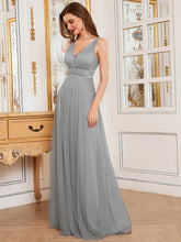 Load image into Gallery viewer, Color=Grey | Fashion V Neck Sleeveless Maxi Tulle Wholesale Bridesmaid Dress Es00299-Grey 9