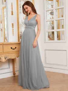 Color=Grey | Fashion V Neck Sleeveless Maxi Tulle Wholesale Bridesmaid Dress Es00299-Grey 9