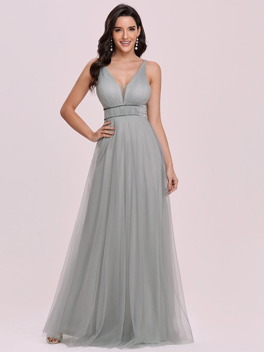Color=Grey | Fashion V Neck Sleeveless Maxi Tulle Wholesale Bridesmaid Dress Es00299-Grey 1