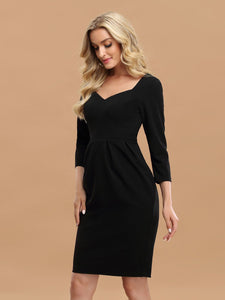 Color=Black | Simple High Waist Sheath Wholesale Work Dress With 3/4 Sleeves-Black 4